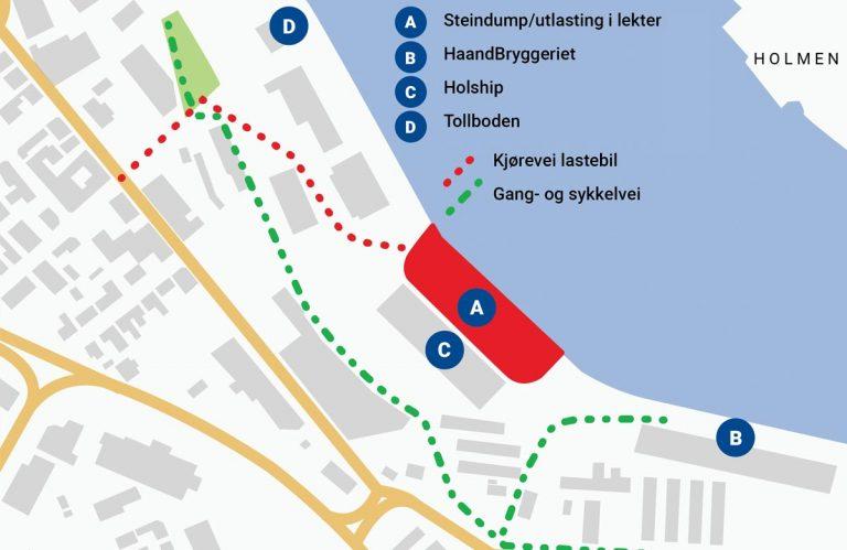 illustrasjon av kart over drammen havn